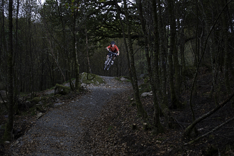 Mountain biker in air above path heading towards you through the woods