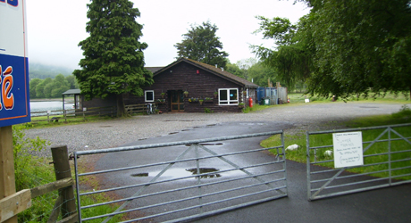 The entrance to Neil's watersports centre, cafe and car park where he keeps his Husky.