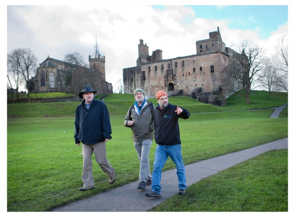 John Muir Way Linlithgow Palace l to r Keith Geddes, Cameron McNeish and Ron McCraw