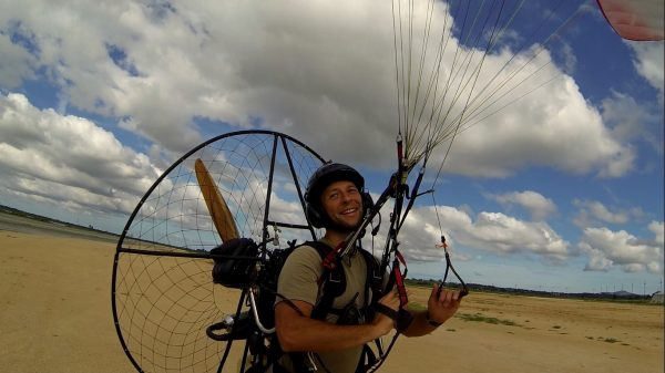 Matt getting to grips with the finer points of paramotoring – and clearly loving it