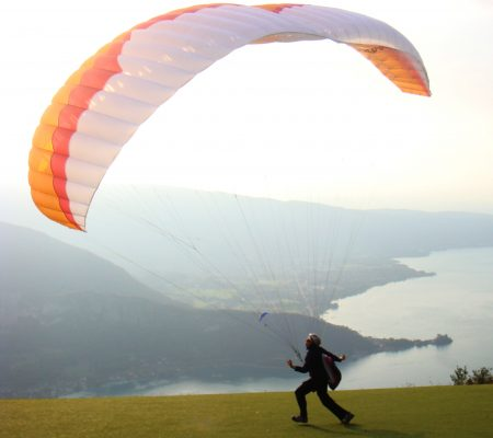 Squash Falconer practices some ground handling of the Ozone ultralite paraglider