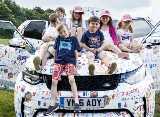 Camouflage kids: unique wrap designed for New Discovery by the children of Land Rover's designers and engineers