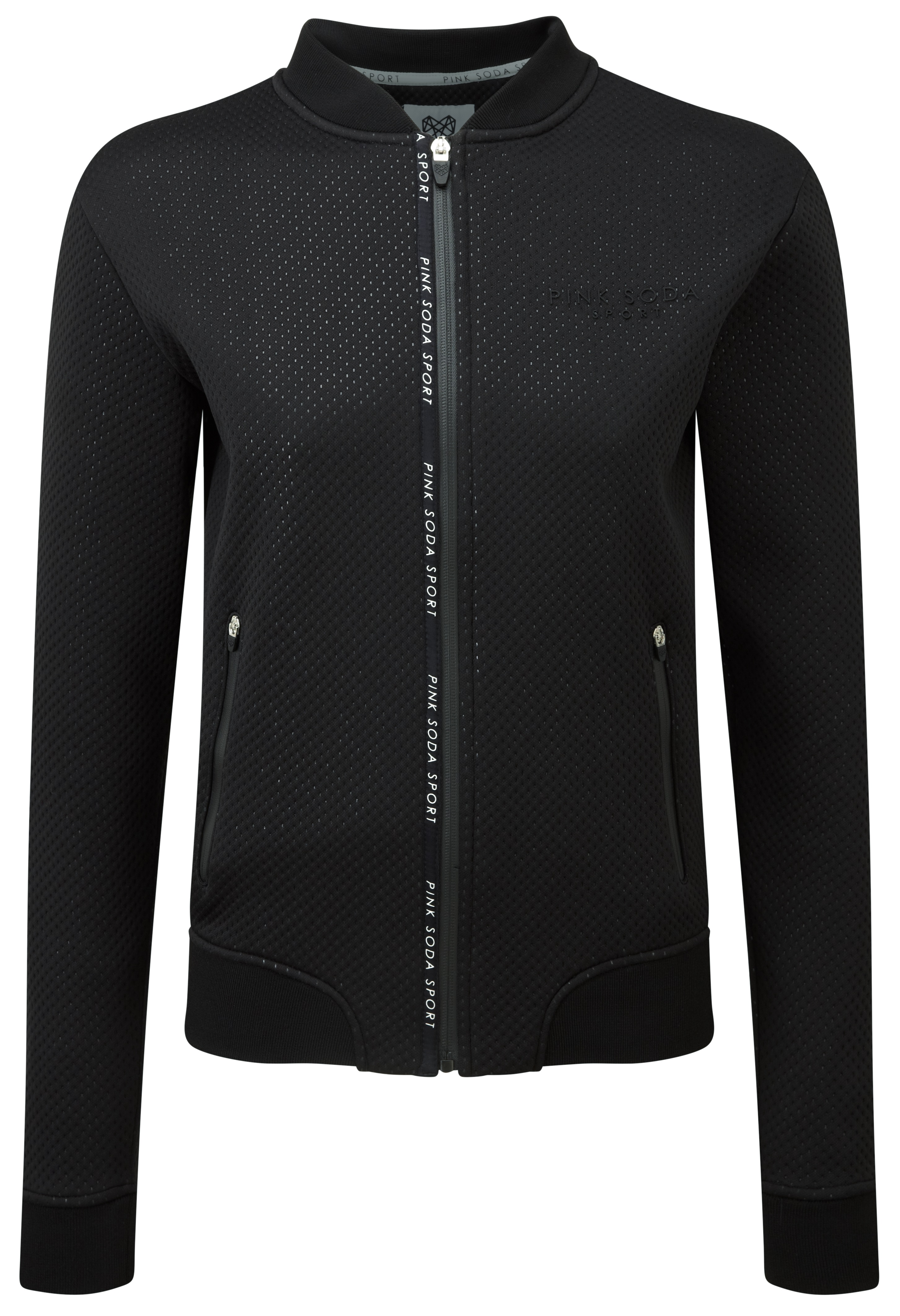 e1524eb080924 Here s Pink Soda Sport s take on a bomber jacket we can be active in. It s  made from a bonded polyester fabric with an all-over dot pattern.